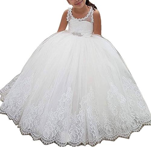 VIPbridal Longues robes de filles de fleur de dentelle pour le mariage