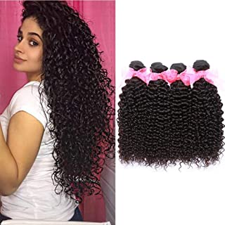 Missexy Malaysian Kinky Curly Human Hair Bundles Grade 7A Malaysian Virgin Curly Hair Weave Extensions (18 20 22 24inch Natural Color)