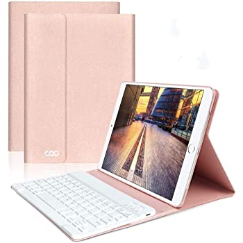 """iPad Keyboard Case 9.7"""" 6th Generation for New iPad 2018/2017 (5th Gen) - iPad Air 2/Air 1 - Wireless Bluetooth Keyboard - Magnetic Auto Sleep/Wake (Rose Gold with White Keyboard)"""