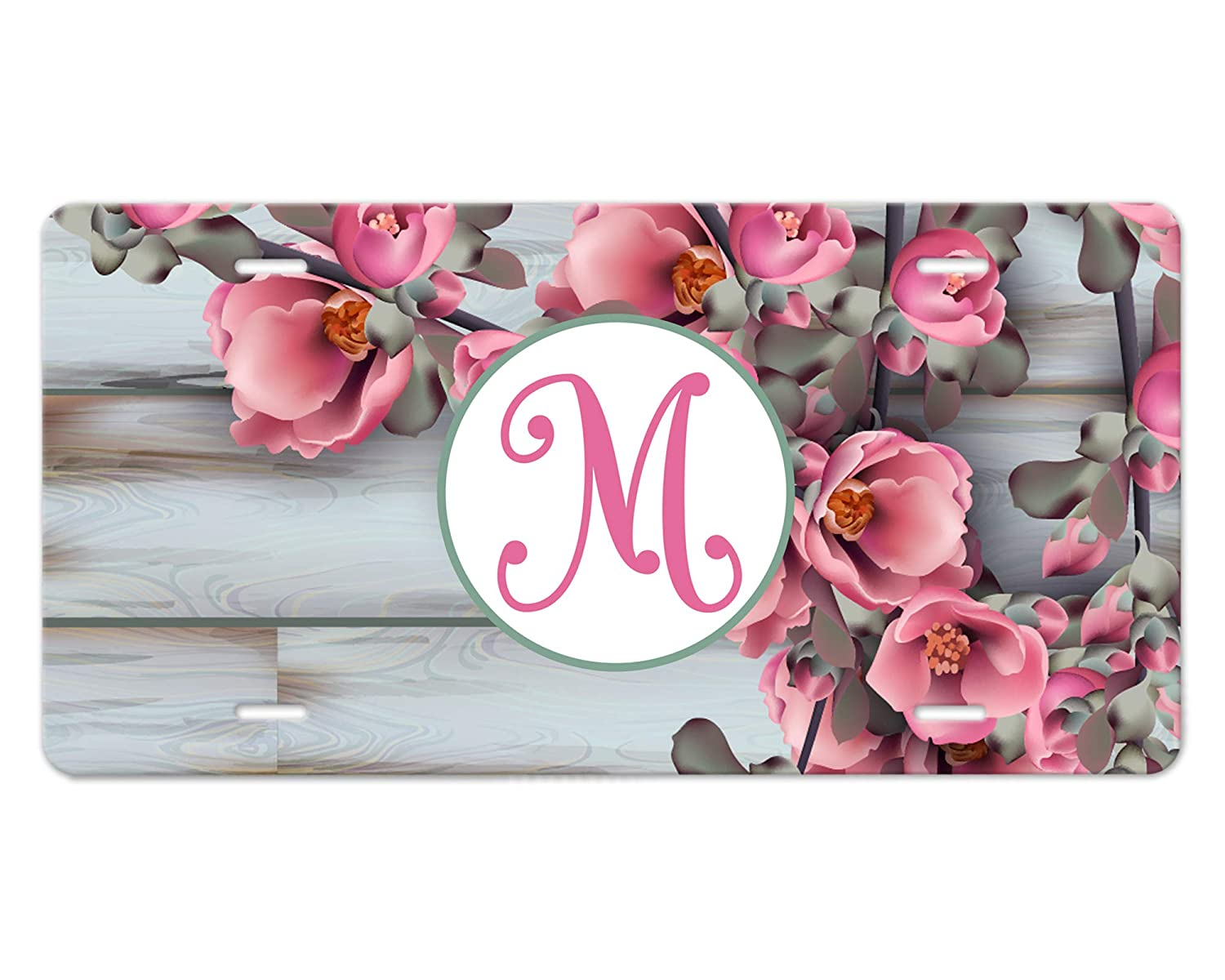 Custom Monogram Car Plate Reservation Cherry Blossom on Wood New Shipping Free