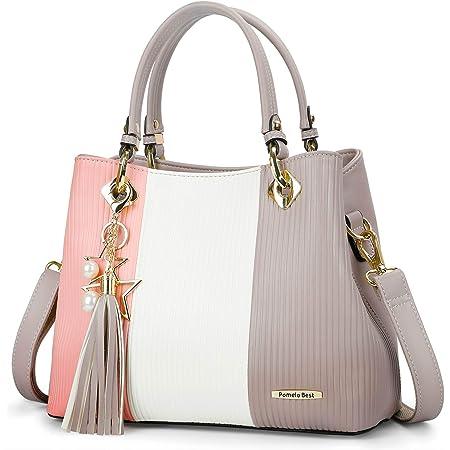 Pomelo Best Damen Handtasche mehrfarbig gestreift Umhängetasche Shopper Tote Henkeltasche (Grau Rosa)