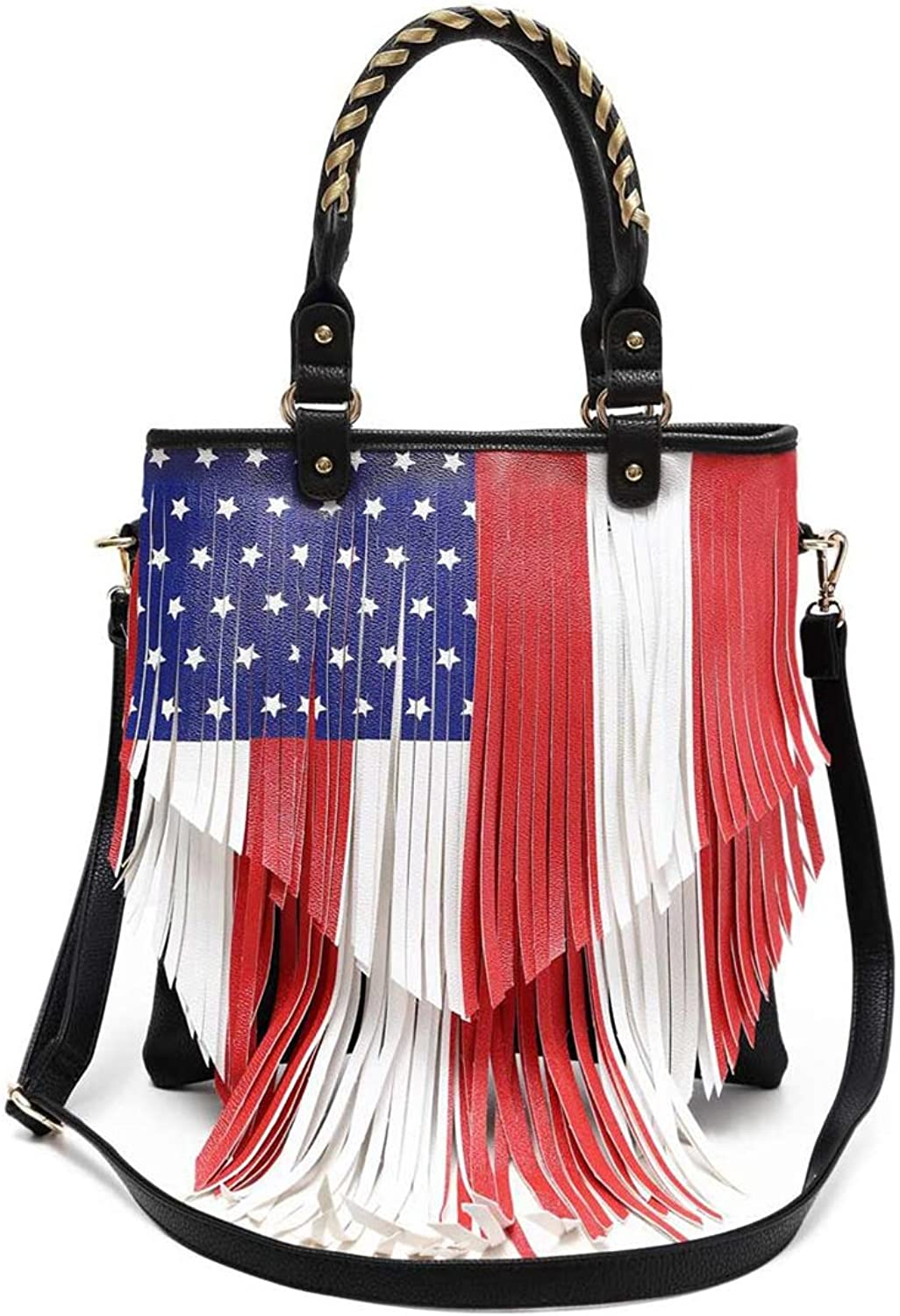 American Flag Stars and Stripes Fringe Cross Body Handbags Western Tote Purse Women Single Shoulder Bag