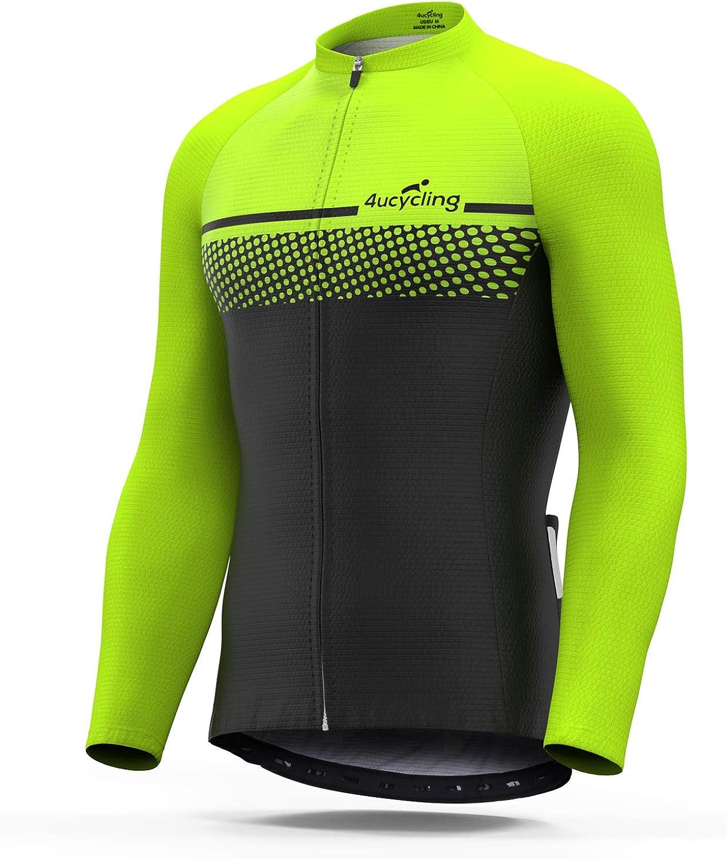 4ucycling Men's Full Zip Moisture Wicking Long Sleeve Cycling Jersey Breathable Running Tops - Bike Biking Shirt
