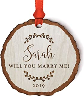 Andaz Press Personalized Engagement Wedding Proposal Real Wood Rustic Farmhouse Keepsake Christmas Ornament, Engraved Wood Slab, Sarah, Will You Marry Me?, Rustic Laurel Leaves, 1-Pack