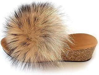 Plateau Pantoffeln mit  Raccoon Fell und Nieten Plattform Sandalen Pelz Latschen