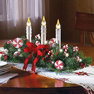 Collections Etc Candy Cane Flameless Candle Holiday Centerpiece
