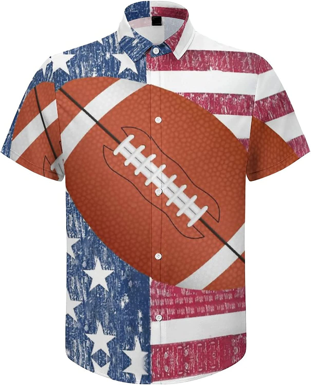 Mens Button Down Shirt American Flag Football Casual Summer Beach Shirts Tops