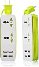 K-Century Travel Power Strip Surge Protector with 2 Outlets 4 USB Output 5V 4.2A Output Power Strip with USB Portable Travel Charger Wall Charger with 5ft Cord 100v-240v Power Sockets