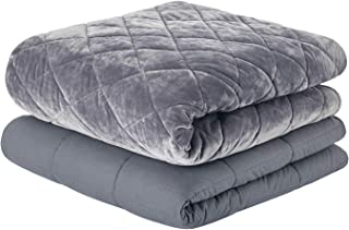 RelaxBlanket Weighted Blanket Luxury Set | 48''x72'',15lbs | for Individual Between 140-190 lbs | with Double Side Quilted Minky Duvet Cover | Super Cozy and Warm | Dark Grey- Diamond