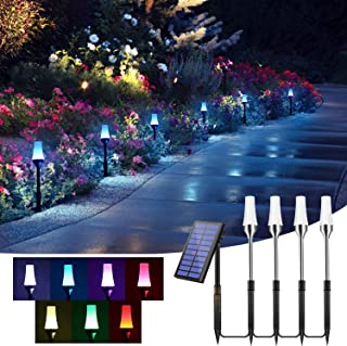 ALOVECO Solar Pathway Lights Outdoor,RGB Solar Path Lights Bright Auto On/Off Dusk to Dawn,IP67 Waterproof Low Voltage Gar...