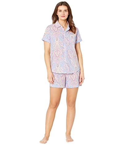 LAUREN Ralph Lauren Classic Wovens Short Sleeve His Shirt Boxer Pajama Set (Multi Paisley) Women