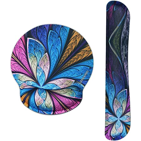 Lizimandu Keyboard Wrist Rest Pad and Mouse Wrist Rest Support Mouse Pad - Ergonomic Support - Premium Quality Foam Durable Comfortable Lightweight for Easy Typing Pain Relief (Blue Fractal Flower-2)
