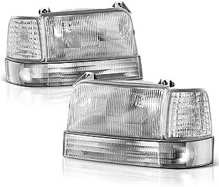 VIPMOTOZ Chrome Bezel OE-Style Headlight & Corner Side Marker Lamp Assembly For 1992-1996 Ford Bronco & F-150 F-250 F-350 Pickup Truck, Driver & Passenger Side