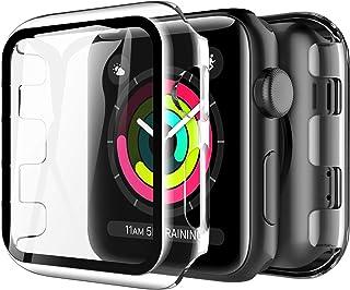 LK Compatible con Apple Watch Series 3 Series 2 Series 1 42mm Protector de Pantalla,2 Pack,PC Funda, Cristal Vidrio Templado