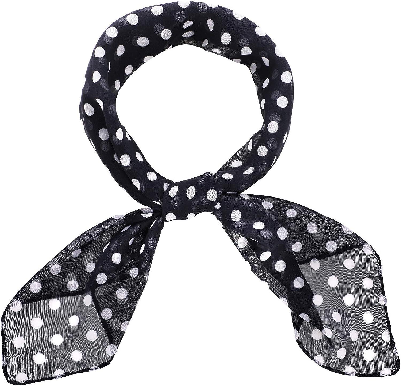 1950s Chiffon Scarf Polka Dot Quality inspection High quality new Retro Tie 50s Square Hair Sheer Ne