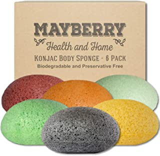 Konjac Facial Sponges (6 Pack) Konjac Sponge Set Gently Cleans for Softer More Radiant Skin - Individually Wrapped