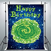 Time Travel Green Portal Holes Photography Backdrop for Rick Birthday Morty Party, 6x9FT, Starry Galaxy Kids Birthday Banner Background, Photo Booth Studio Props LHLU422