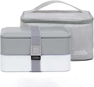 Snitsla Go - Bento Lunch Box Set in Insulated Lunch Bag for Adults - With Sauce Container and Divider to keep Food and Snack separated - Size for Portion Control – Grey