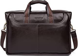 BOSTANTEN Leather Briefcase Laptop Messenger Business Bags for Men Brown 17 Inch