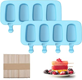 2 Pack Cakesicle Molds Silicone Ice Cream Mold with 50 Wooden Sticks, Choclate Molder Homemade Cake Pop Mold Ice Pop Molds...