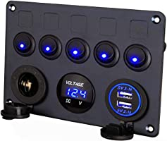 Thlevel 5-gängs strömbrytare kontrollpanel LED-brytare 12 V/24 V bil båt fordon vippströmbrytare panel marin 2 USB och...