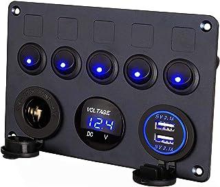 Thlevel 5 Panel de Interruptor Basculante con Cargador Dual USB, Voltímetro LED Digital y Encendedor de Cigarrillos, para ...