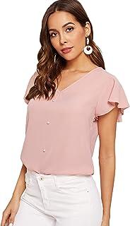 SweatyRocks Women's Short Sleeve V Neck Leopard Print Tee Shirt Blouse Top