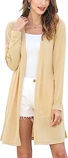 Women's Casual Long Open Front Lightweight Cardigan Summer Long Sleeve Side Split Cardigan Sweaters
