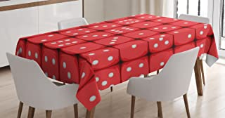 Casino Decorations Tablecloth by Ambesonne, Dice Holidays Getaways Tourist Attractions Destinations Gatherings Events , Dining Room Kitchen Rectangular Table Cover, 60 X 90 Inches