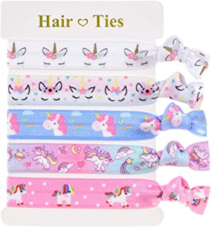 Accesyes Unicorn Elastic Hair Ties Ponytail Ties Colorful No Crease Hand Knotted Fold Girls Women Teens Party Supply (Unicorn)
