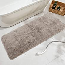 Seavish Luxury Beige Bath Rug, 17.7 X 47 Inches Shaggy Bathroom Rugs,Non Slip Efficient Water Absorbent Machine Washable T...
