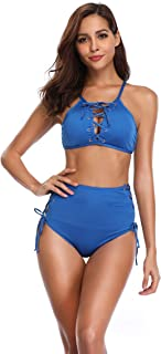 Women's Sexy Swimsuit Two Pieces Laces Close up Adjustable Strap Hight-Waist Swimwear Bikini Sets