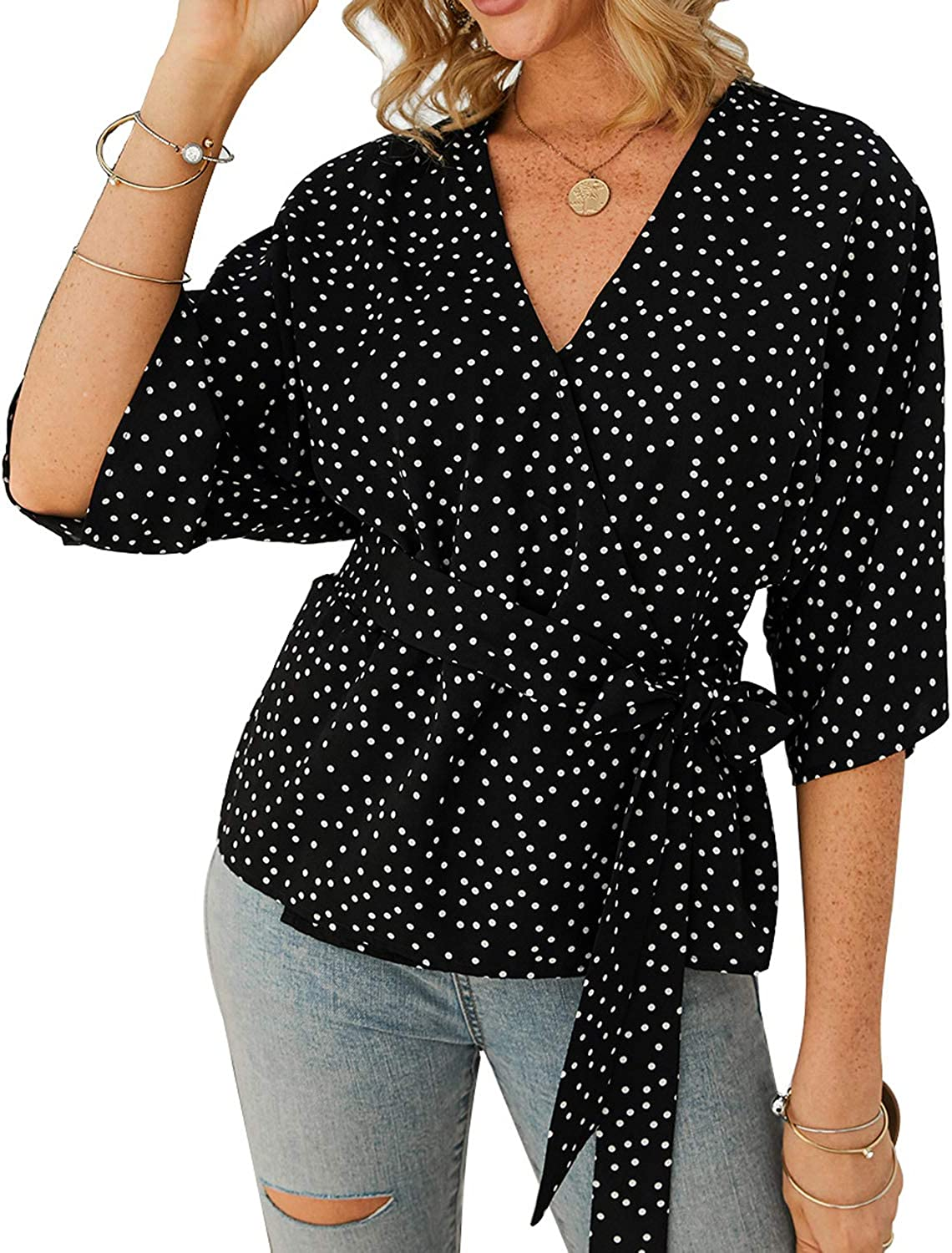 TOP-MAX Womens Henley T Shirts Long Short Sleeve Blouse Front Knot V Neck Button Down Loose Tunic Tops