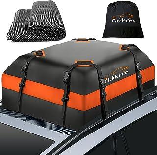 Fivklemnz Car Roof Bag Cargo Carrier, 15 Cubic Feet Waterproof Rooftop Cargo Carrier with Anti-Slip Mat + 8 Reinforced Str...