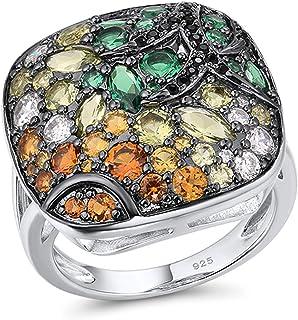 خاتم فضة إسبنل مربع للنساء 925 الاسترليني مكعب زركونيا خواتم تألق الأحجار الملونة الكلاسيكية العصرية الجميلة والمجوهرات