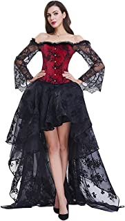 Women's Steampunk Victorian Off Shoulder Corset Top with High Low Skirt
