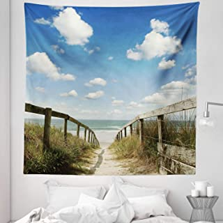 """Lunarable Beach Tapestry Queen Size, Sandy Path Leads to Ocean Pacific Puffy Clouds Vacation Serene Relaxing Beach, Wall Hanging Bedspread Bed Cover Wall Decor, 88"""" X 88"""", Cream Blue White"""