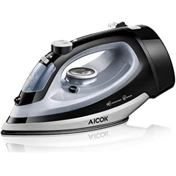 AICOK Steam Iron, 1700W Professional Iron for Clothes with Retractable Cord, Variable Temperature and Steam Control, Non-Stick Soleplate, Anti-Drip & Self-Cleaning, 2020 Upgraded