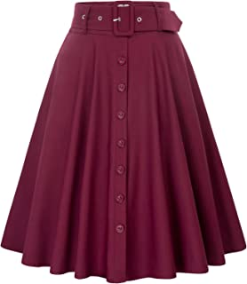 Women's Stretch High Waist A-Line Flared Midi Skirts with Pockets & Belts