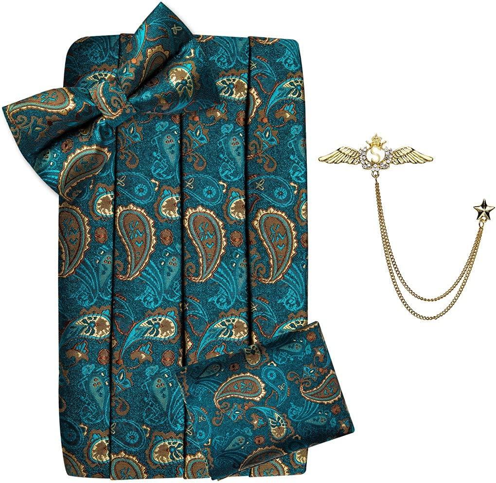 WPYYI Teal Green Men Cummerbund Bow Tie Pocket Square Cufflinks Set Men Tuxedo Suit Accessories Elastic Belts (Color : Teal Green, Size : One Size)