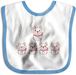 UBCATDESA Cute Dogs Baby Bibs, Unisex Baby Soft Cotton Easily Clean Teething Bibs(Blue&Pink)