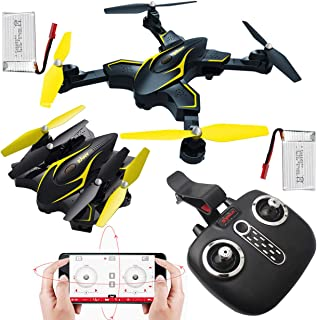 Syma X56W-P Foldable FPV Drone with Camera, Headless & Altitude Mode, Optical Flow Positioning, App & Remote Control Quadcopter, 2 Battery