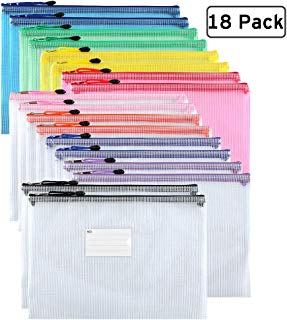 Sooez Plastic Mesh Zip File Document Folders, 18 Pack Letter Size A4 Size Zipper Document Pouch Waterproof Document Bag with Label Pocket & Zipper for School Office Home Travel Storage, Assorted Color