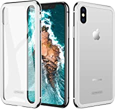 Case For iPhone XS MAX, 9H Tempered Glass iPhone xs max Clear Case, Slim Fit Hard Back Transparent With Metal Bumper Silver Cases For White phone, Joyroom 6.5 inch Cover (2018)