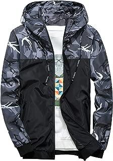 Men's Windbreaker Jacket, Floral Bomber Jacket Lightweight Zip-up Hooded Coat