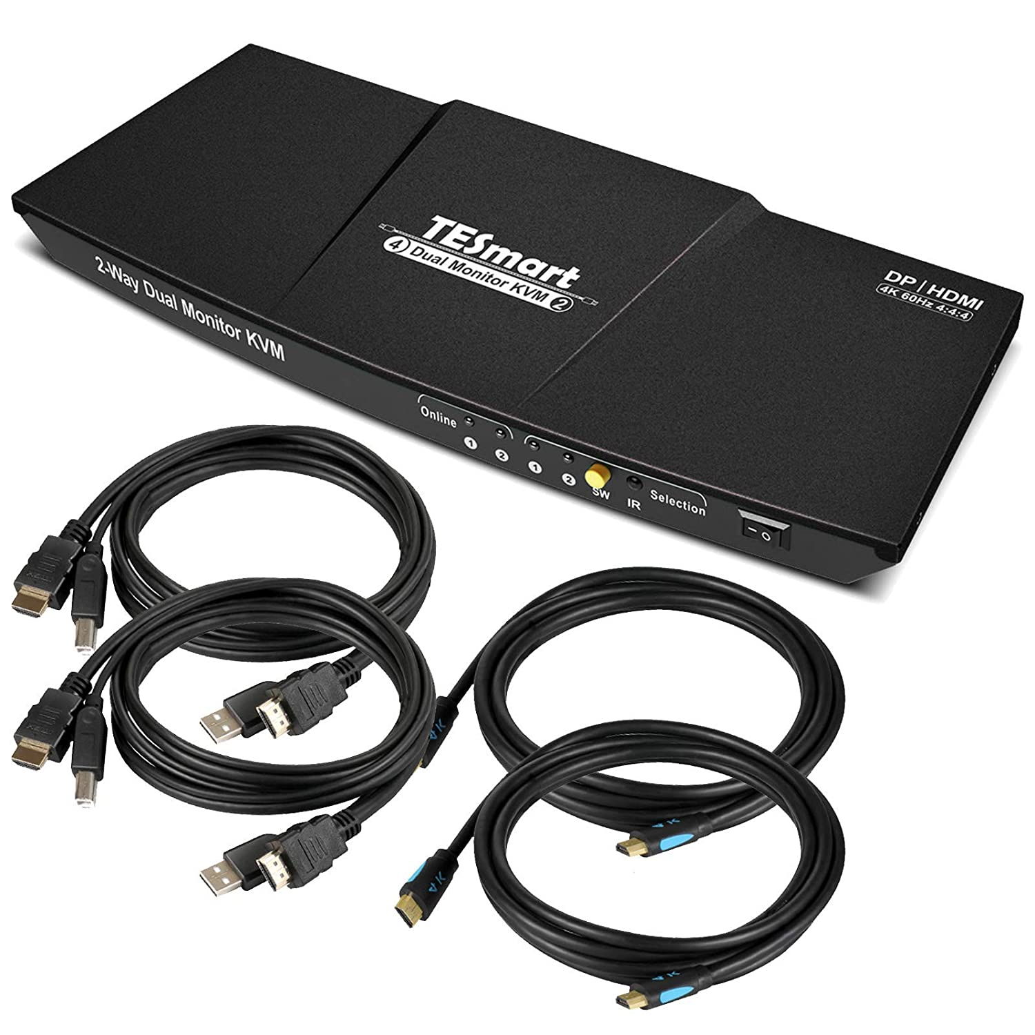TESmart Dual Monitor 2 inputs 4K@60Hz Ultra HD 2x2 DP KVM Switcher with 2 Pcs 5ft KVM Cables and DP Cables Supports USB 2.0 Devices Control up to 2 DP Port Devices