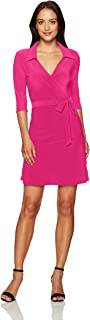 Women's Petite 3/4 Sleeve Faux Wrap Dress with Collar