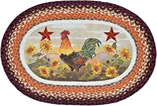 Capitol Earth Rugs Rooster Portrait Oval Braided Rug