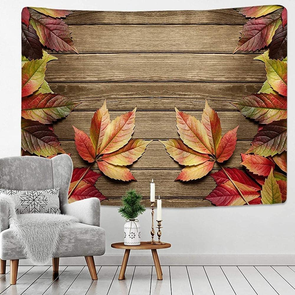Limited time cheap sale Cash special price aksldf Vintage Wooden Board Wall Golden Brown Art Leaves Hanging