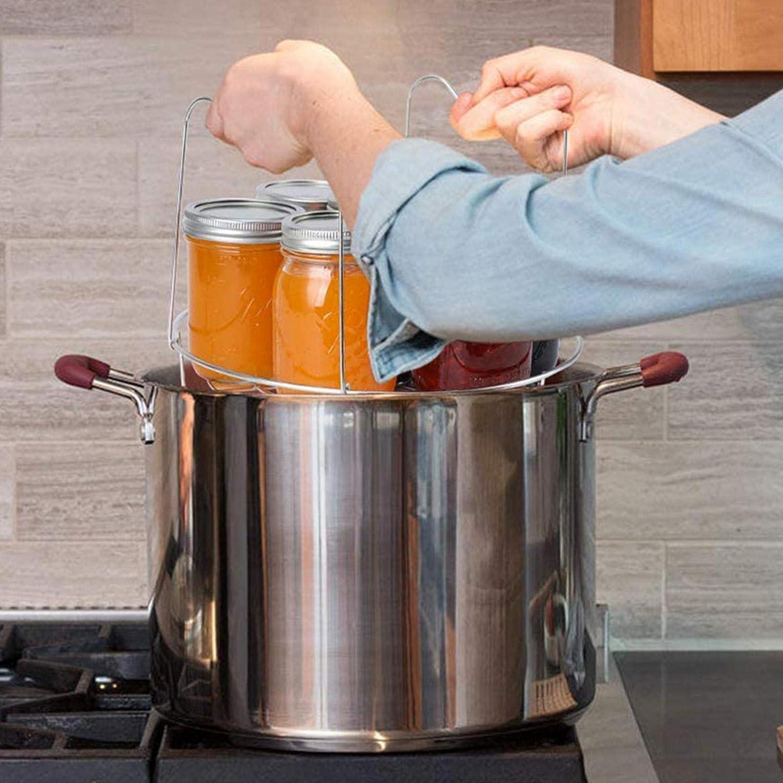 vogueyouth Canning Kit Canning Rack 11.69Estante para Conservas De Acero Inoxidable Estante para Conservas Asas Largas para Quitar F/ácilmente Las Ollas para El Refrigerador De Mesa De Cocina
